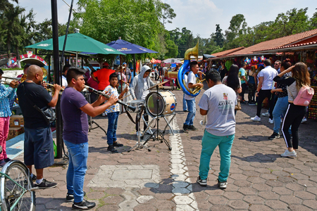 Mexico;  United Mexican State - may 13 2018 : touristy and souvenir market near the pier in Xochimilco Editöryel