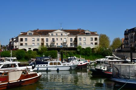 Cergy , France - april 20 2018 : the modern Port Cergy Redactioneel