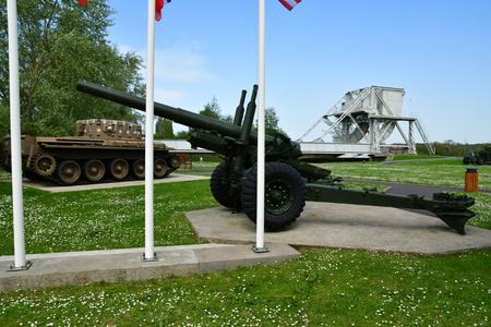 Benouville; France - april 22 2018 : 55 inch gun in the Pegasus bridge memorial
