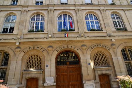 Paris; France - april 2 2018 : city hall of the second arrondissement in the rue de la Banque