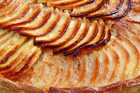 Verneuil sur Seine; France - april 17 2019 :  close up of an apple tart; France - april 17 2019 :  close up of an apple tart