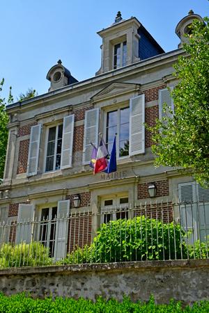 Wy dit joli village; France - may 24 2019 : the city hall 에디토리얼