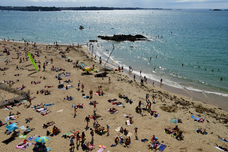 Saint Malo; France - july 28 2019 : beach of the picturesque city in summer Editorial
