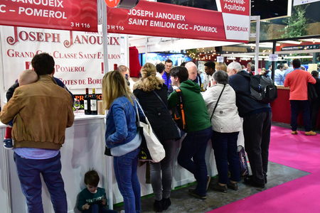 Paris; France - february 24 2019 : Bordeaux wine at the Paris International agricultural show, the largest and important one in Europe