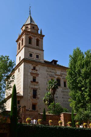 Granada; Spain - august 27 2019 : the Santa Maria church in the Alhambra palace