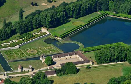 Chaussy, France - july 7 2017 : aerial picture of the Villarceaux estate Stok Fotoğraf