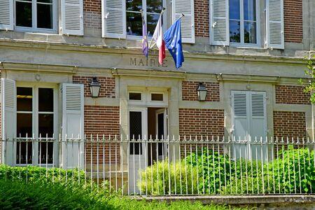 Wy dit joli village; France - may 24 2019 : the city hall 스톡 콘텐츠