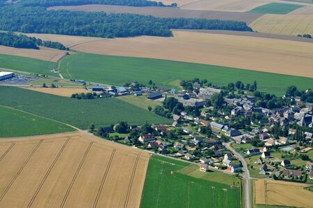 Ecouis, France - july 7 2017 : aerial photograph of the village