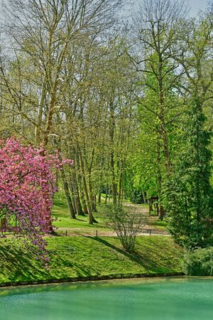 Poissy; France - april 11 2019 : the Meissonier park in spring