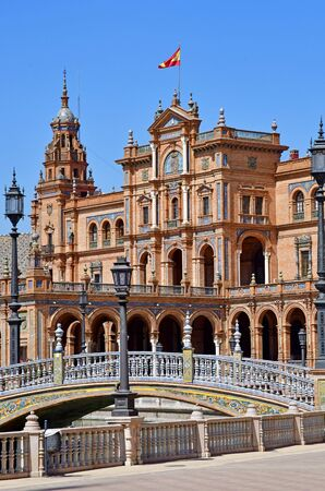 Sevilla; Spain - august 28 2019 : the Plaza de Espana built in 1929