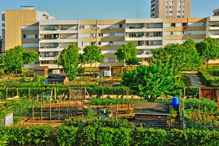 Les Mureaux; France - may 13 2011: allotment garden in the Musiciens district