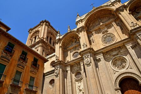 Granada; Spain - august 27 2019 : the incarnation cathedral built in the 16th century Stock fotó