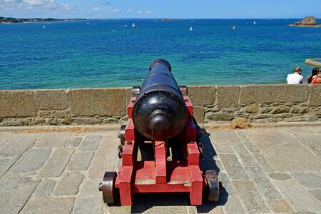 Saint Malo; France - july 28 2019 : cannon on the ramparts 写真素材