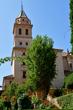 Granada; Spain - august 27 2019 : the Santa Maria church in the Alhambra palace