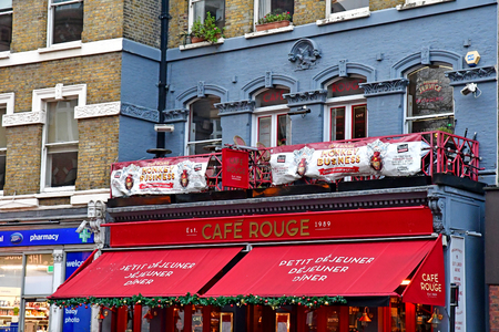London, England - december 23 2017 : Cafe Rouge, a restaurant in Hampstead in the Camden borough