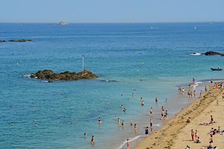 Saint Malo; France - july 28 2019 : the beach near the ramparts