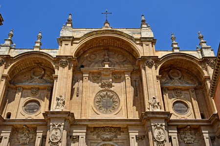 Granada; Spain - august 27 2019 : the incarnation cathedral built in the 16th century 에디토리얼