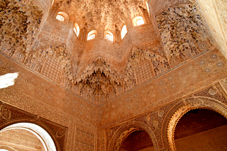 Granada; Spain - august 27 2019 : hall of Abencerrajes in the Alhambra palace 에디토리얼