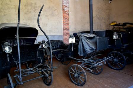 Chaumont sur Loire; France - june 29 2019: horse drawn carriage in the castle stable