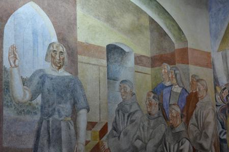 Palos de la Frontera; Spain - august 28 2019 : fresco of Daniel Velasquez Diaz in the Friary of la Rabida