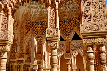 Granada; Spain - august 27 2019 : the Court of the Lions in the Alhambra palace