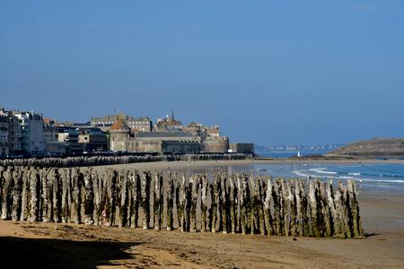 Saint Malo; France - july 28 2019 : Sillon beach Editorial