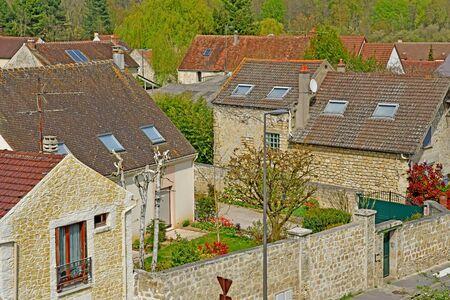 Jouy le Moutier, France - april 16 2019 : the village center Stock fotó
