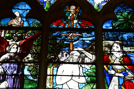 Pont de l Arche; France - march 30 2017 : the church of arts stained glass window