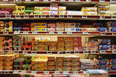 Magny en Vexin, France - august 6 2018 : yogurt at the supermarket Sajtókép
