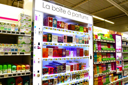 Magny en Vexin, France - august 6 2018 : parfume at the supermarket
