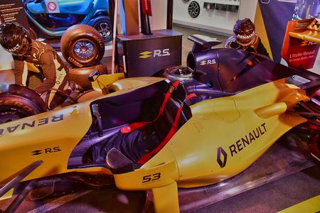 Paris; France - april 2 2017 : F 1 Renault car expo in  the Avenue des Champs Elysees in the 8 th arrondissement