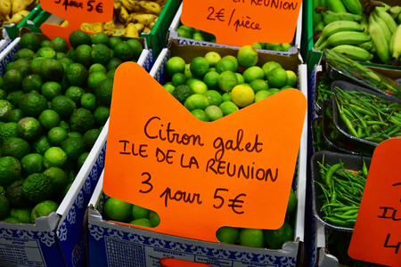 Paris; France - february 24 2019 : green lemon at the Paris International agricultural show, the largest and important one in Europe