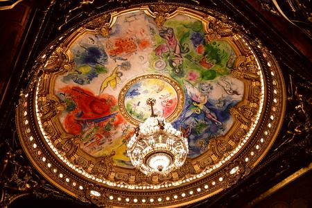 Paris; France - august 4 2018 : the ceiling painted by Marc Chagall in the Opera de Paris Redakční