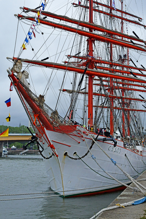 Rouen, France - june 10 2019 : the Sedov in the Armada de Rouen, a collection of old sailing boats