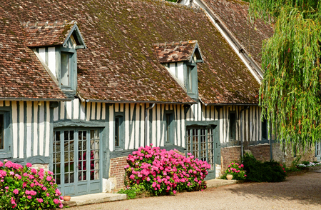 Harquency; France - july 19 2019 : la Grange de Bourgoult, an old commandery of Templars built in the 13th century Editöryel