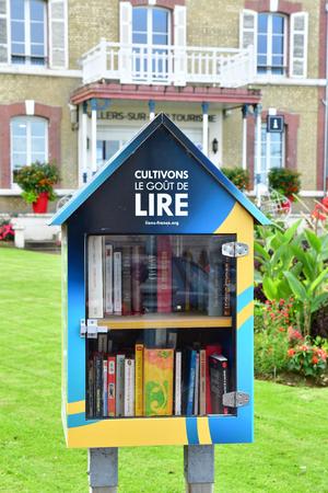 Villers sur Mer, France - september 27 2019 : a book box