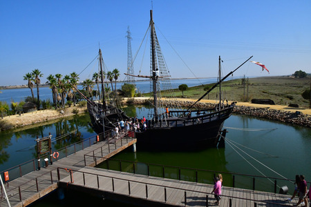 Palos de la Frontera; Spain - august 28 2019 : wharf of the caravels created in 1994 Editorial