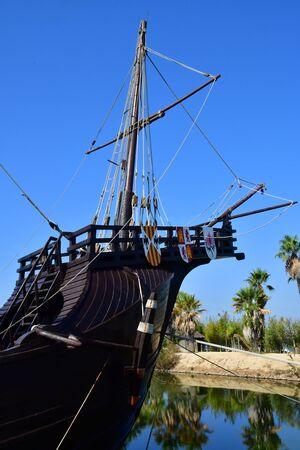 Palos de la Frontera ; Espagne - 28 août 2019 : quai des caravelles créé en 1994