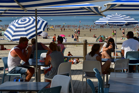 Dinard; France - july 23 2019 : people on the beach
