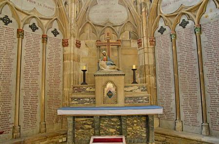 Mantes la Jolie; France - april 12 2019 : war memorial in the gothic collegiate church