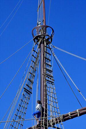 Palos de la Frontera; Spain - august 28 2019 : wharf of the caravels created in 1994 Foto de archivo