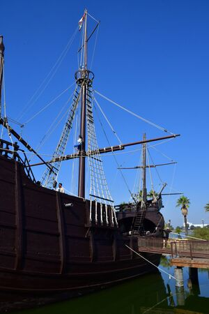 Palos de la Frontera; Spain - august 28 2019 : wharf of the caravels created in 1994