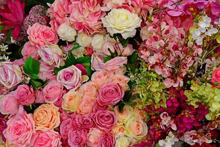 Saint Cyr l Ecole; France - june 16 2019 : artificial flowers in a garden center
