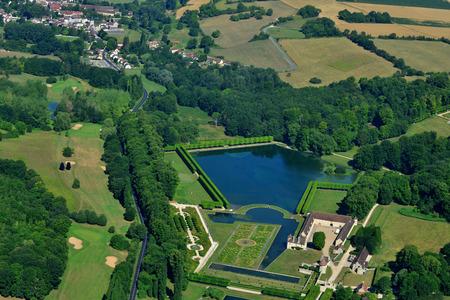 Chaussy, France - july 7 2017 : aerial picture of the Villarceaux estate Sajtókép