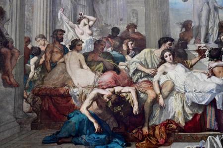 Paris; France - novembre 22 2019 : Les Romains de la decadence by Thomas Couture in the Orsay museum