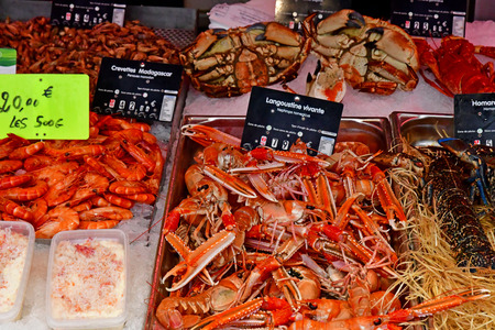 Deauville, France - september 27 2019 : seafood at the market Editorial