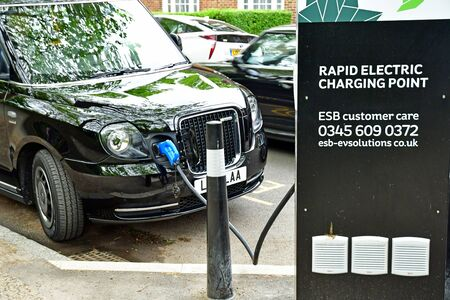London; Hampstead, England - may 6 2019 : rapid electric charging point in the Saint John wood district