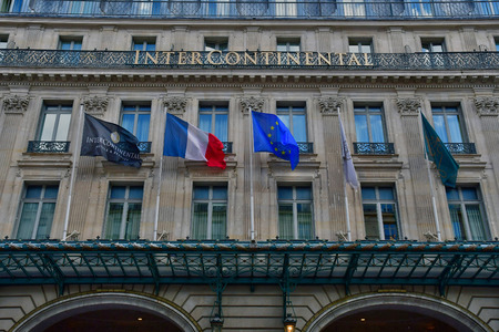 Paris; France - april 2 2017 : the Intercontinental hotel in rue Scribe