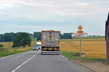 Saint Jean de Frenelles, France - august 8 2019 : the D 6014 road between Magny en Vexin and Fleury sur Andelle Sajtókép