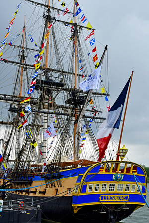 Rouen, France - june 10 2019 : l Hermione in the Armada de Rouen, a collection of old sailing boats Éditoriale